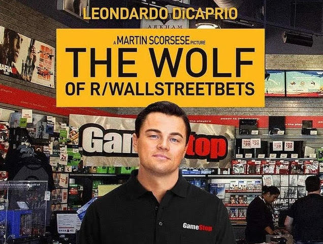 A meme from r/WallStreetBets, combining the glamour of Martin Scorsese's The Wolf of Wall Street with the banality of a brick-and-mortar GameStop retailer