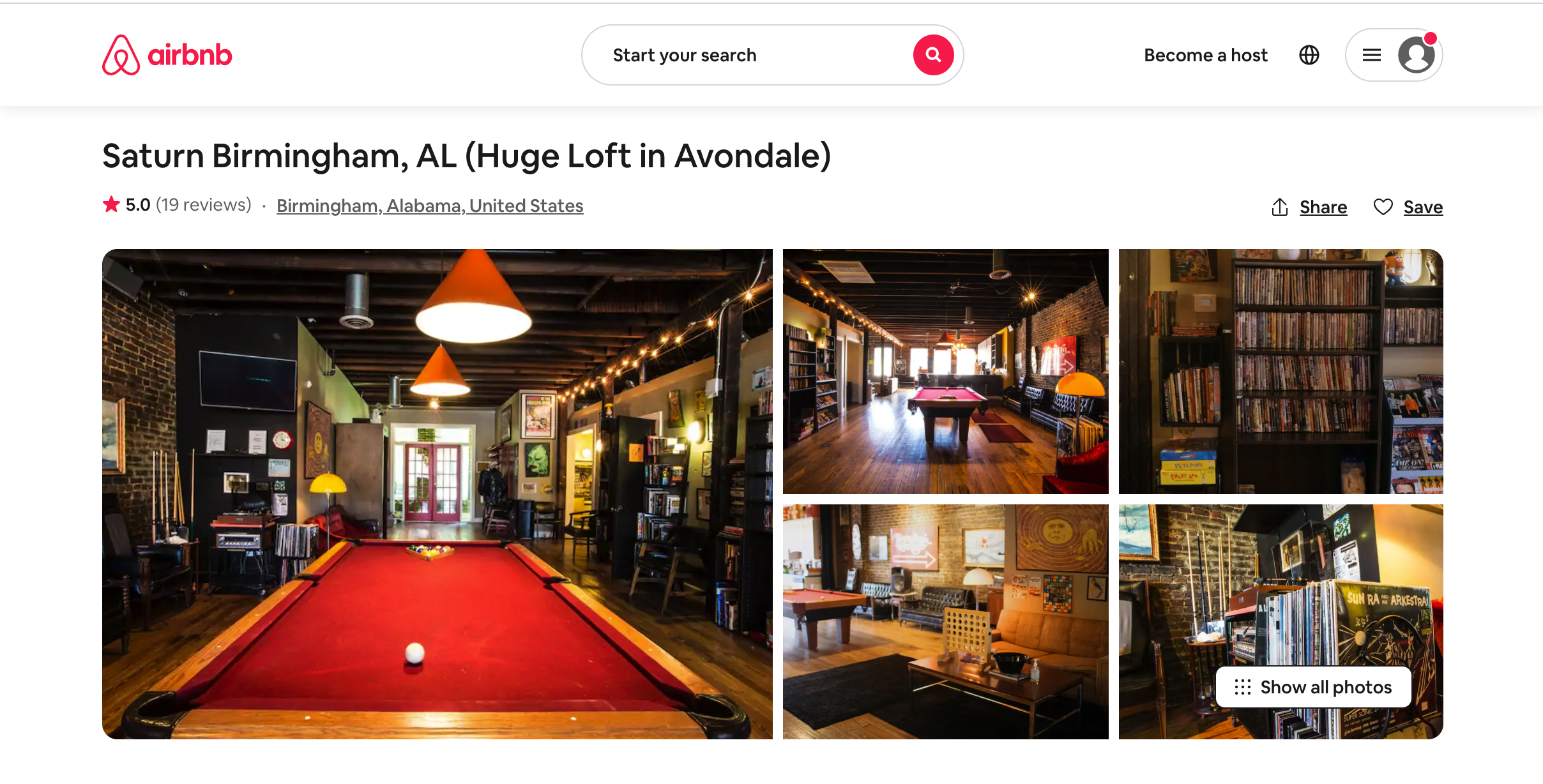 The Airbnb listing for the Saturn Birmingham musicians' loft.