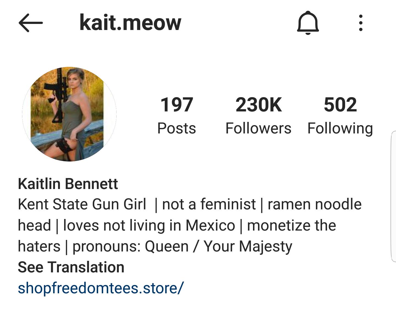 Kaitlin Bennett's Instagram profile (@kait.meow)