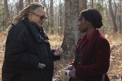 Kasi Lemmons with Cynthia Erivo on Harriet set