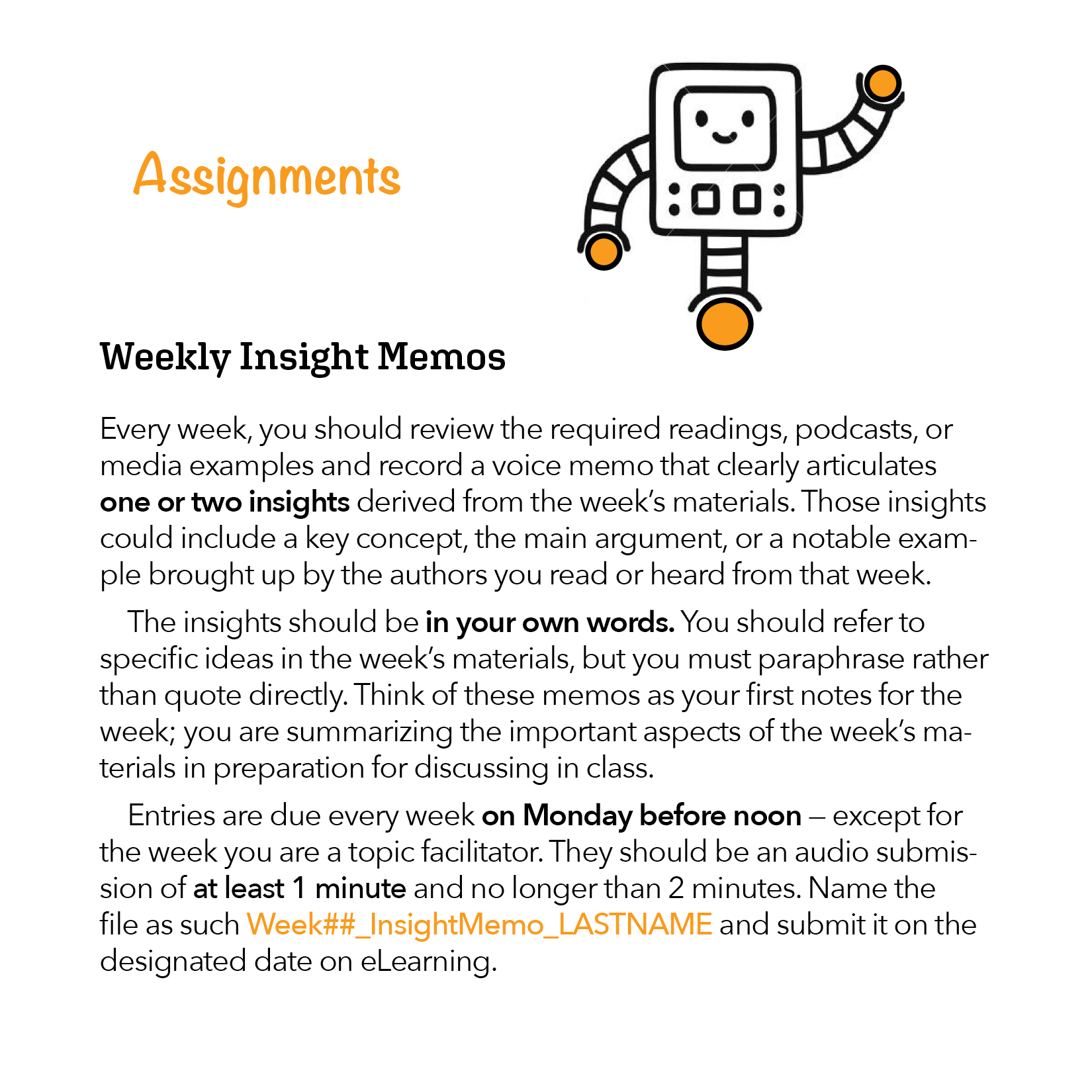 Description of Weekly Insight Memo from Course Syllabus