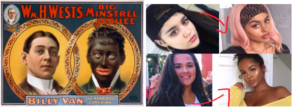 Images of Blackface in 1900 and Blackfishing in 2020