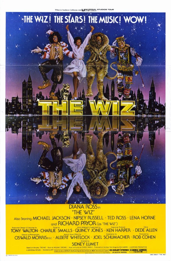 Film poster for The Wiz (1978) featuring the four principal cast members