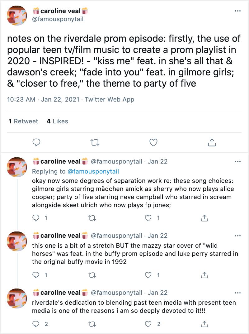 Caroline N. Bayne's tweets on the Riverdale prom episode