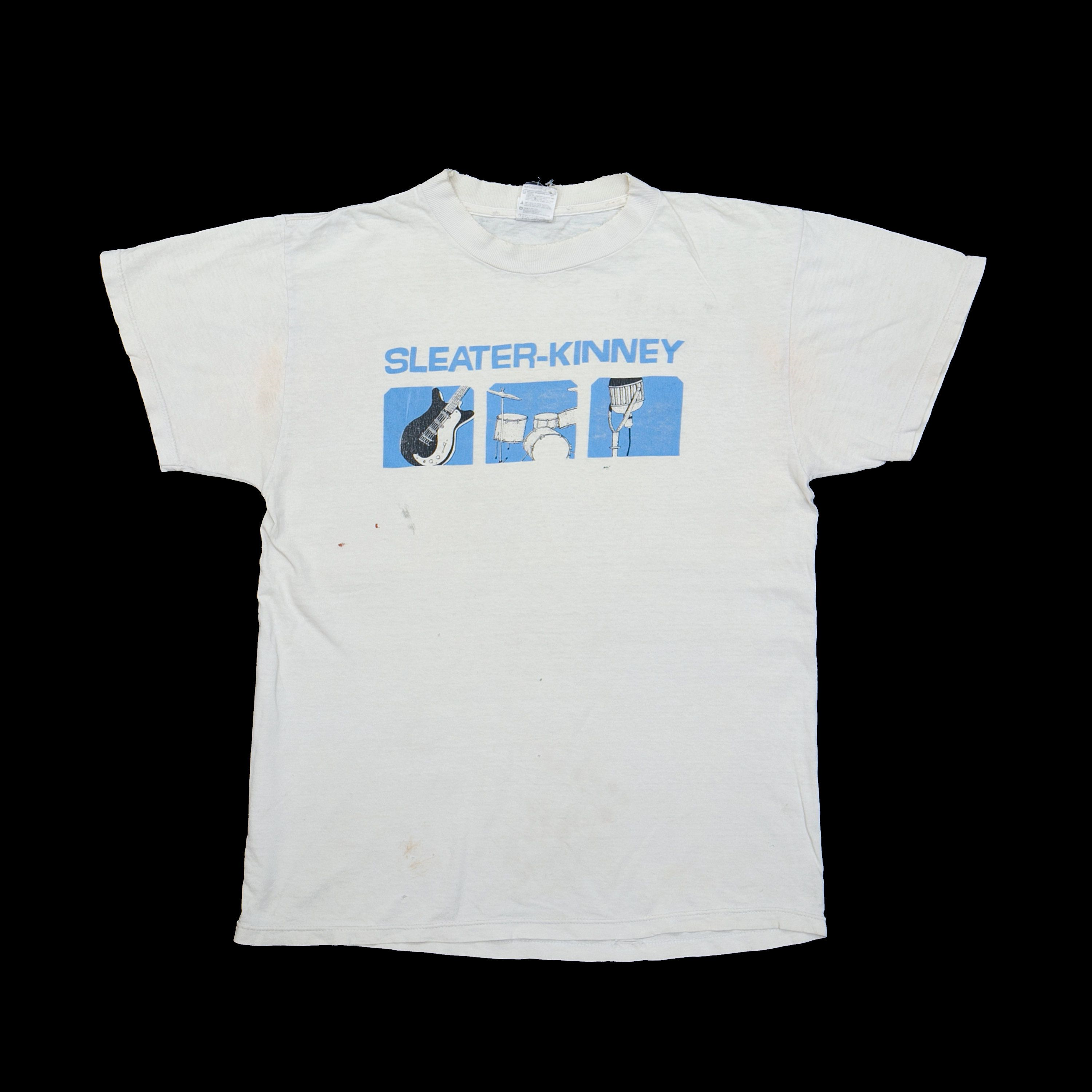 A white t-shirt with a blue design in the center.