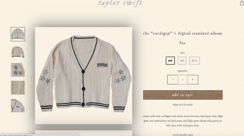 An online storefront featuring a sweater.