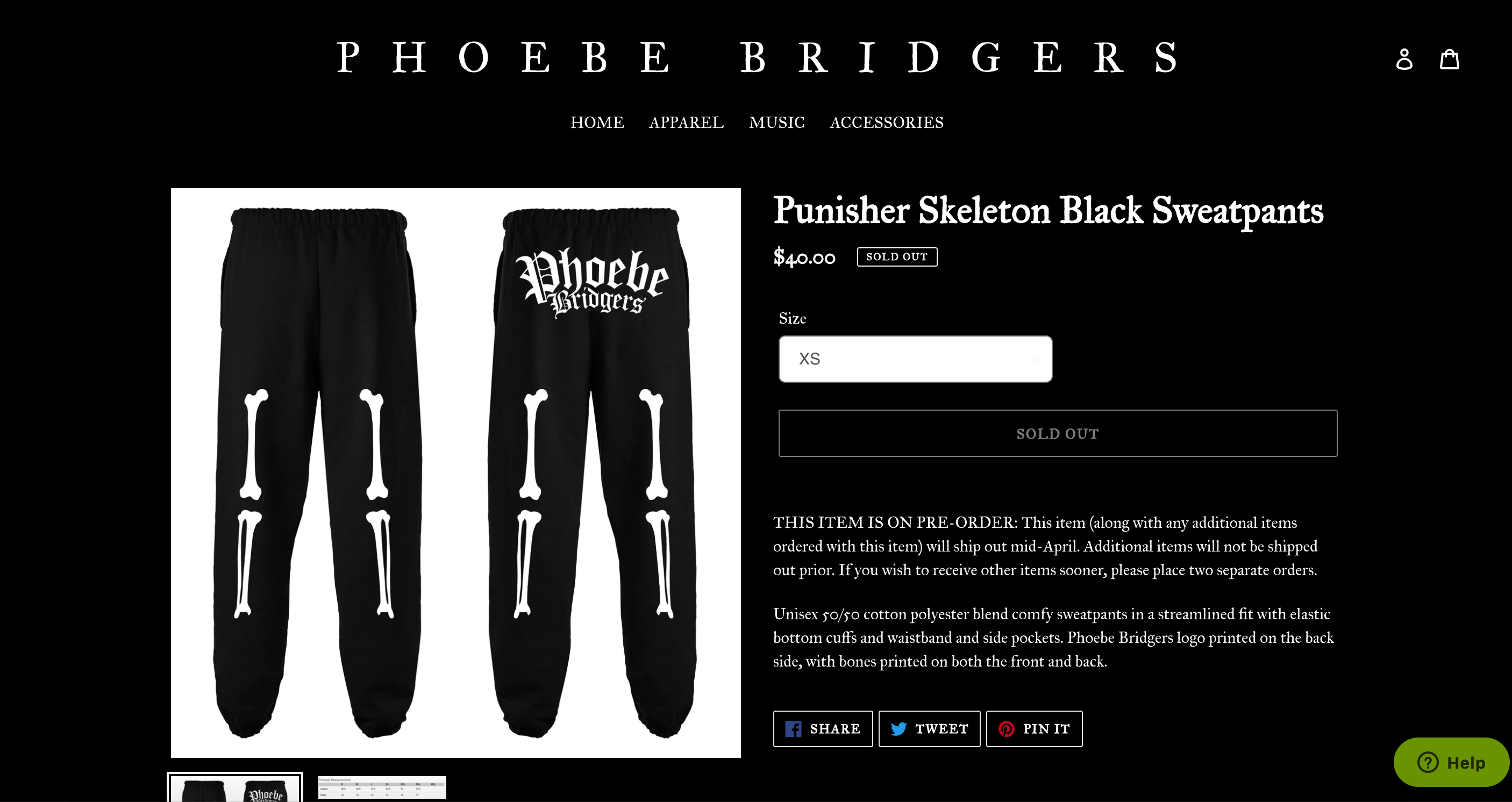 An online storefront featuring a pair of sweatpants.