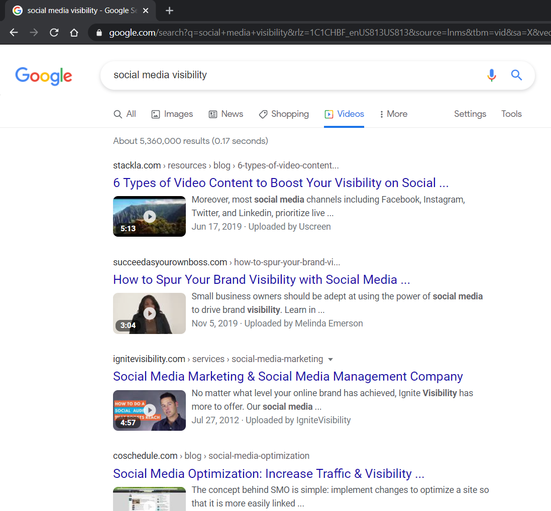 Google search for Social Media Visibility