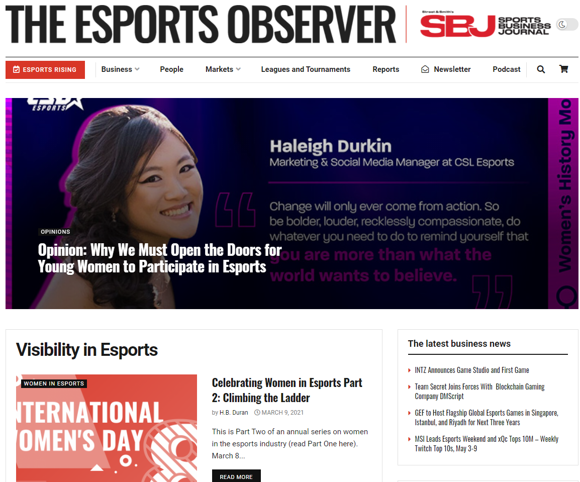 Visibility In Esports Site screenshot