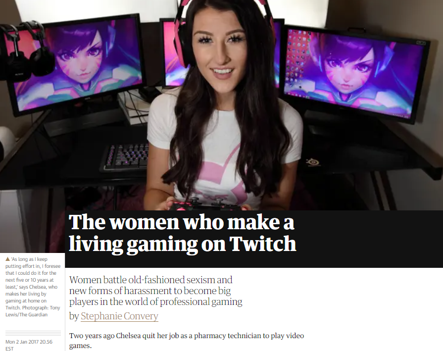 screenshot of a woman streaming on Twitch