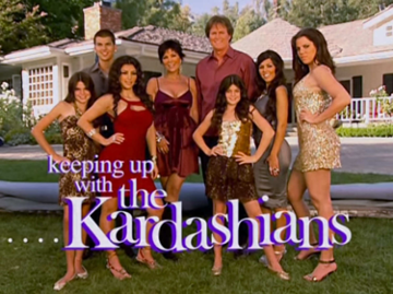The opening credits of Keeping Up with the Kardashians, featuring 8 of the Kardashian-Jenners standing in front of their home