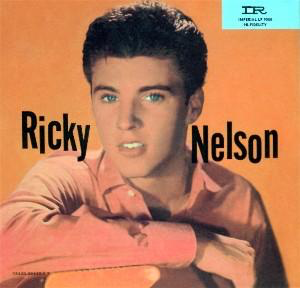 An album cover featuring Ricky Nelson on an orange background