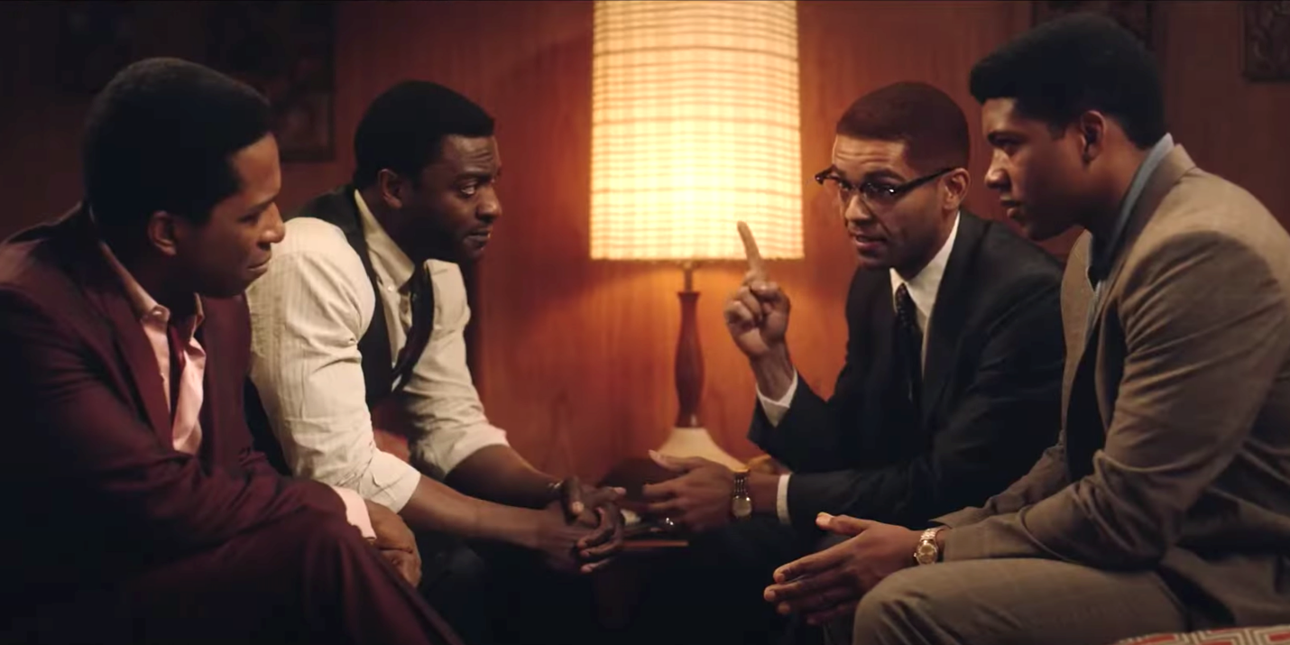 Leslie Odom Jr. (as Sam Cooke), Aldis Hodge (as Jim Brown), Kingsley Ben-Adir (as Malcolm X), and Eli Goree (as Cassius Clay) in One Night in Miami