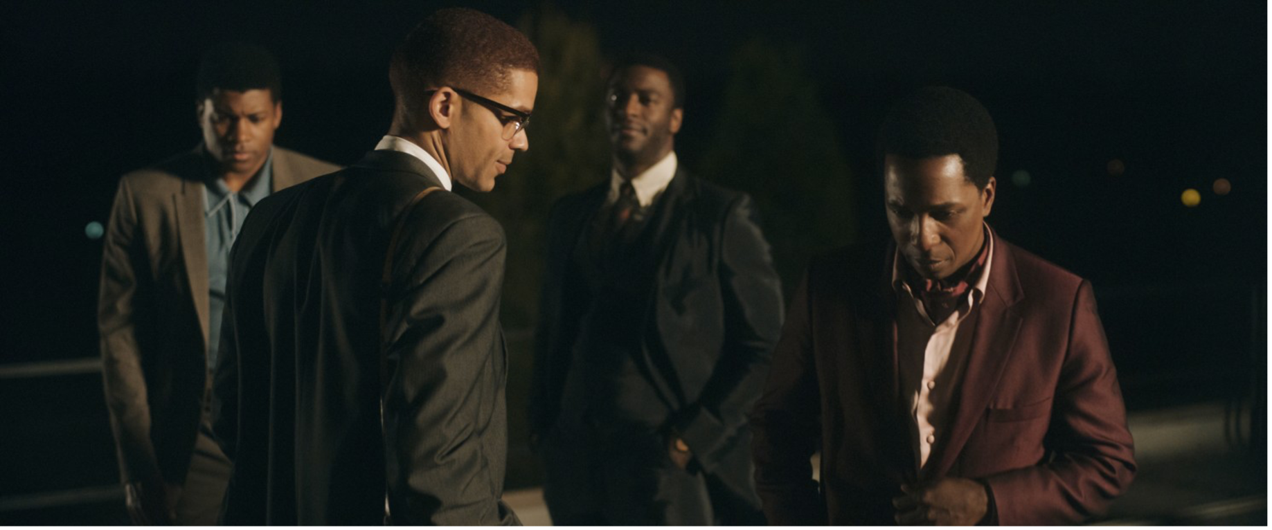 Kingsley Ben-Adir (as Malcolm X) with Leslie Odom Jr. (as Sam Cooke) in the foreground, and Eli Goree (as Cassius Clay) with Aldis Hodge (as Jim Brown) in the background