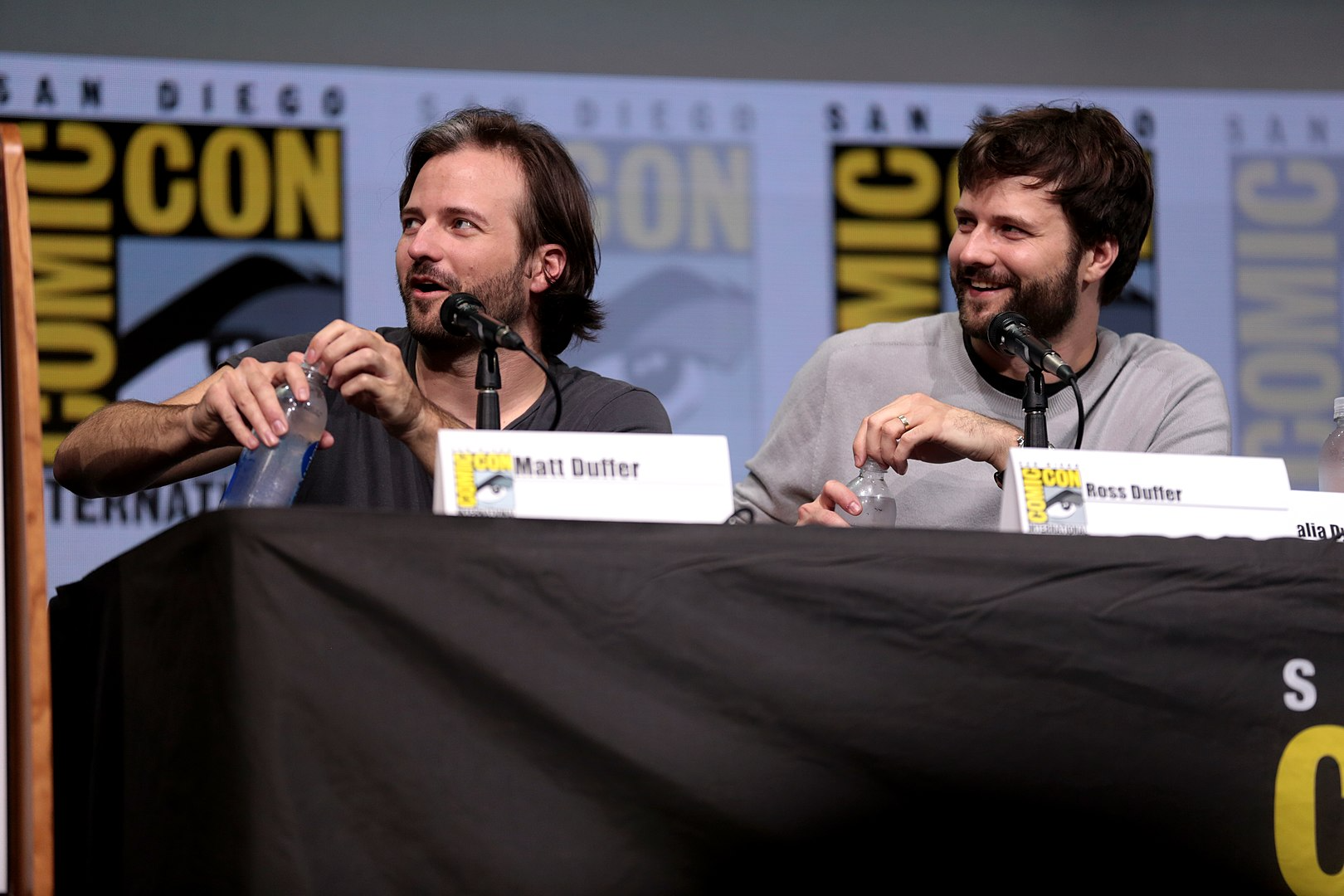 Matt and Ross Duffer, known professionally as the Duffer Brothers, at the 2017 San Diego Comic Con