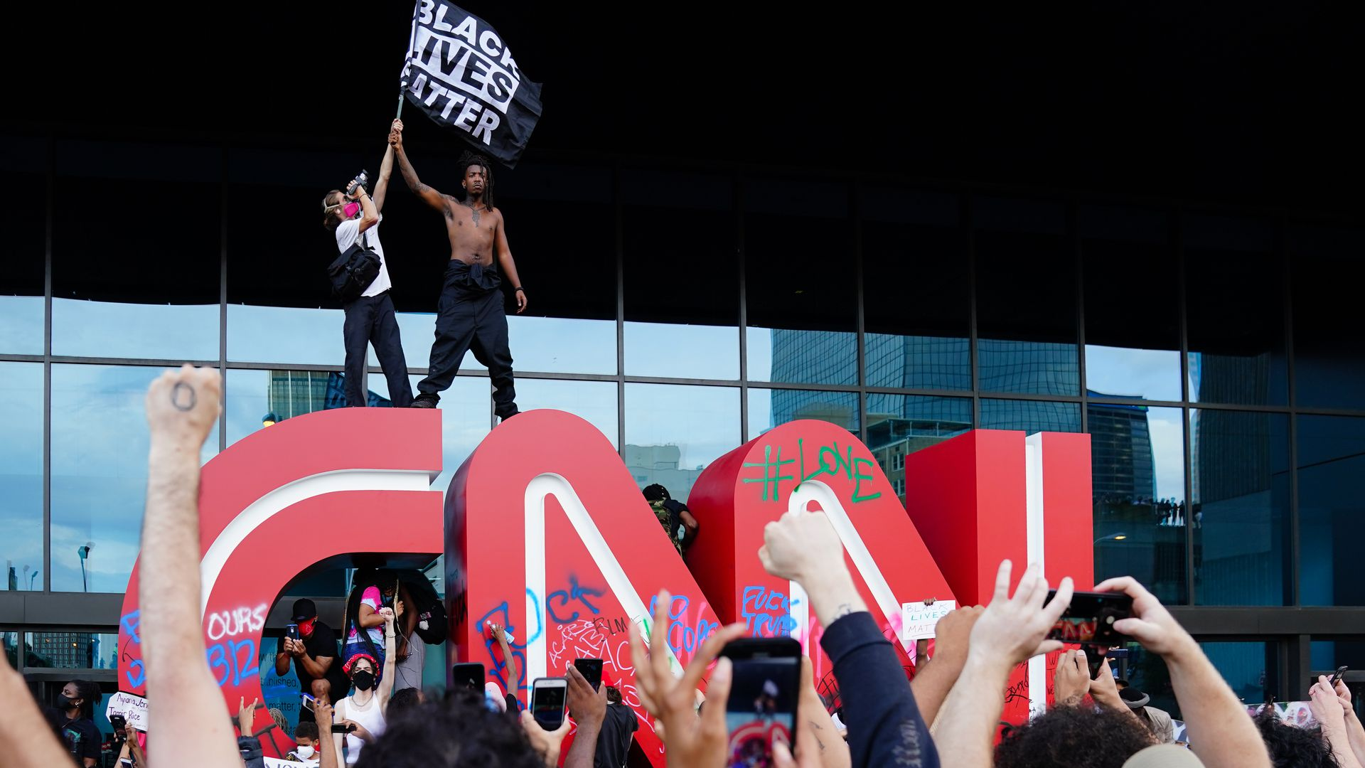 Black Lives Matter protest at CNN Headquarters in Atlanta, GA on May 29, 2020